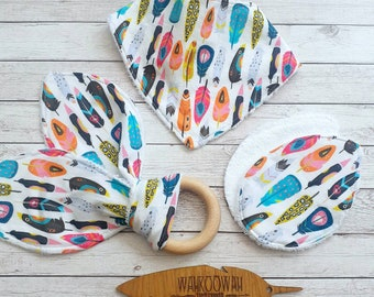 Organic Bamboo Towelling & 100% Cotton / Teething Ring . Bandana Bib . Nursing Pads /Individually or Gift Set / Free UK Post / New Mum Gift