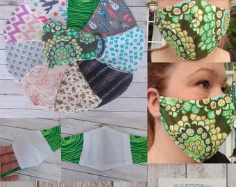 FACE MASKS ADULT Reusable and Washable // Double Layer with filter pocket. 100% Cotton // Quick Ship // Free U.K Delivery