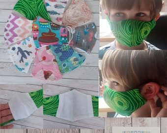 KIDS FACE MASK Reusable and Washable // Double Layer with filter pocket. 100% Cotton // Quick Ship // Free U.K Delivery