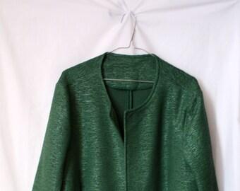 Oversized green vintage blazer / Green Metallic Polyester