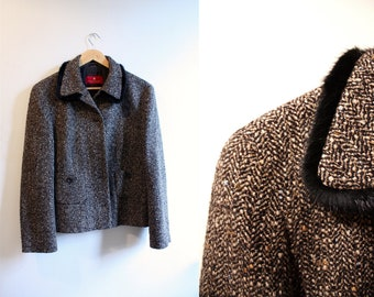 Black and brown blazer with fur collar