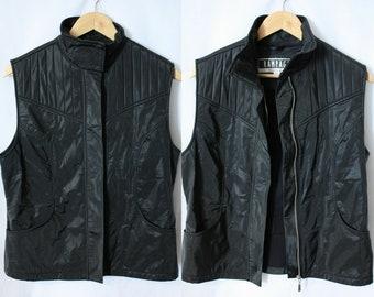 Black nylon biker waistcoat