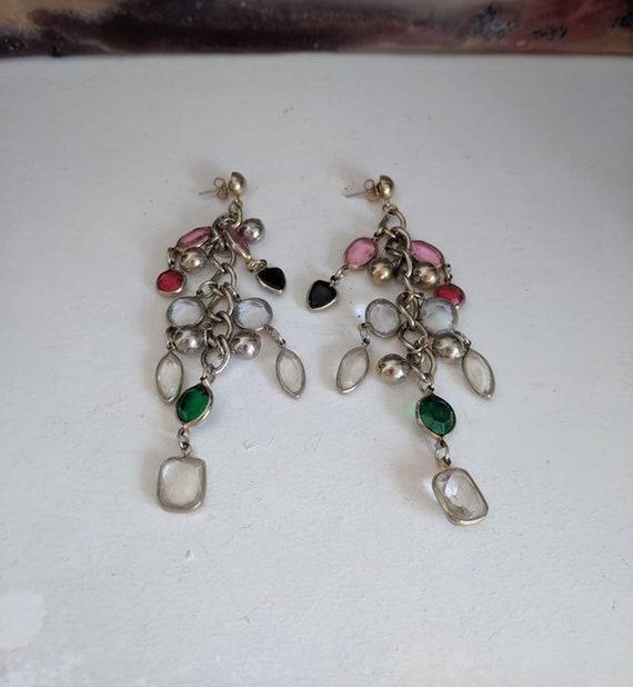 Amazing Rare 90s super long dangle earrings gold toned multi coloured earrings multi colour club kid raver urban hipster