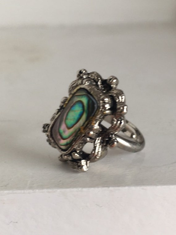 Sale Rare British made vintage ring 1970s abalone shell adjustable ornate women men teens hipster urban indie