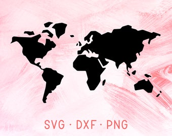 World map svg clipart silhouette world map vector digital   Etsy