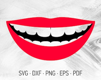 Lips And Teeth Svg Etsy
