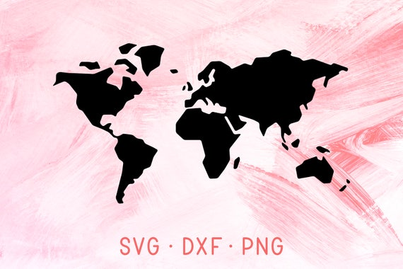 World Map SVG, DXF, PNG Travel Map Silhouette Clipart for Cutting Machine,  Vector Map Digital Download, World Map File For Vinyl Decal