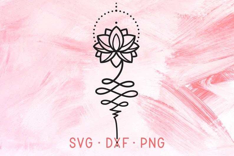 Unalome Lotus Flower Svg Dxf Png Geometric Tattoo Design Etsy