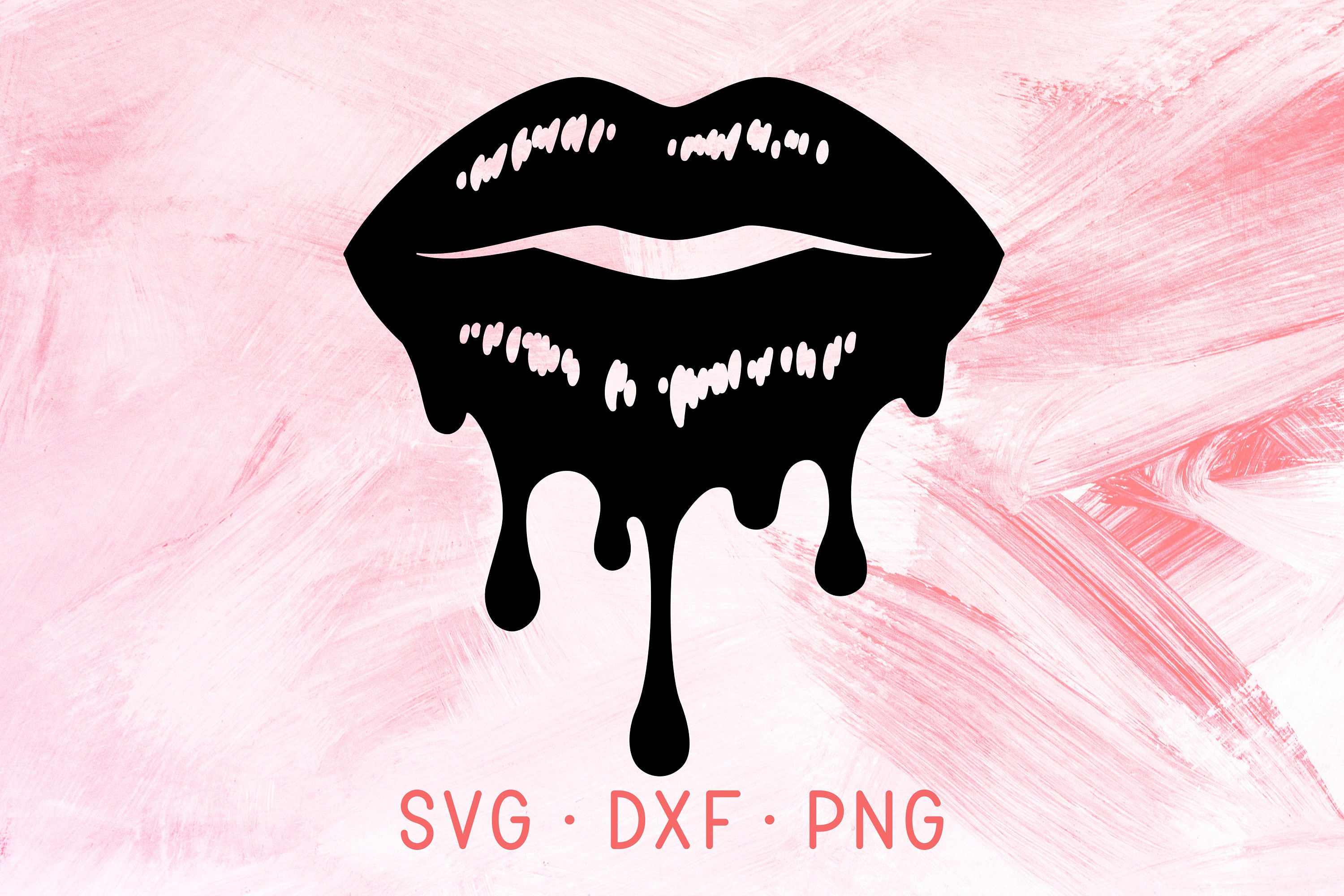Dripping Lips Svg Dxf Png Files For Cricut Dripping Lip Gloss Etsy