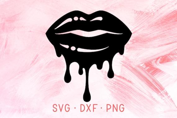 Black Dripping Lips Svg Dxf Png Cricut Files Glossy Lipstick Etsy