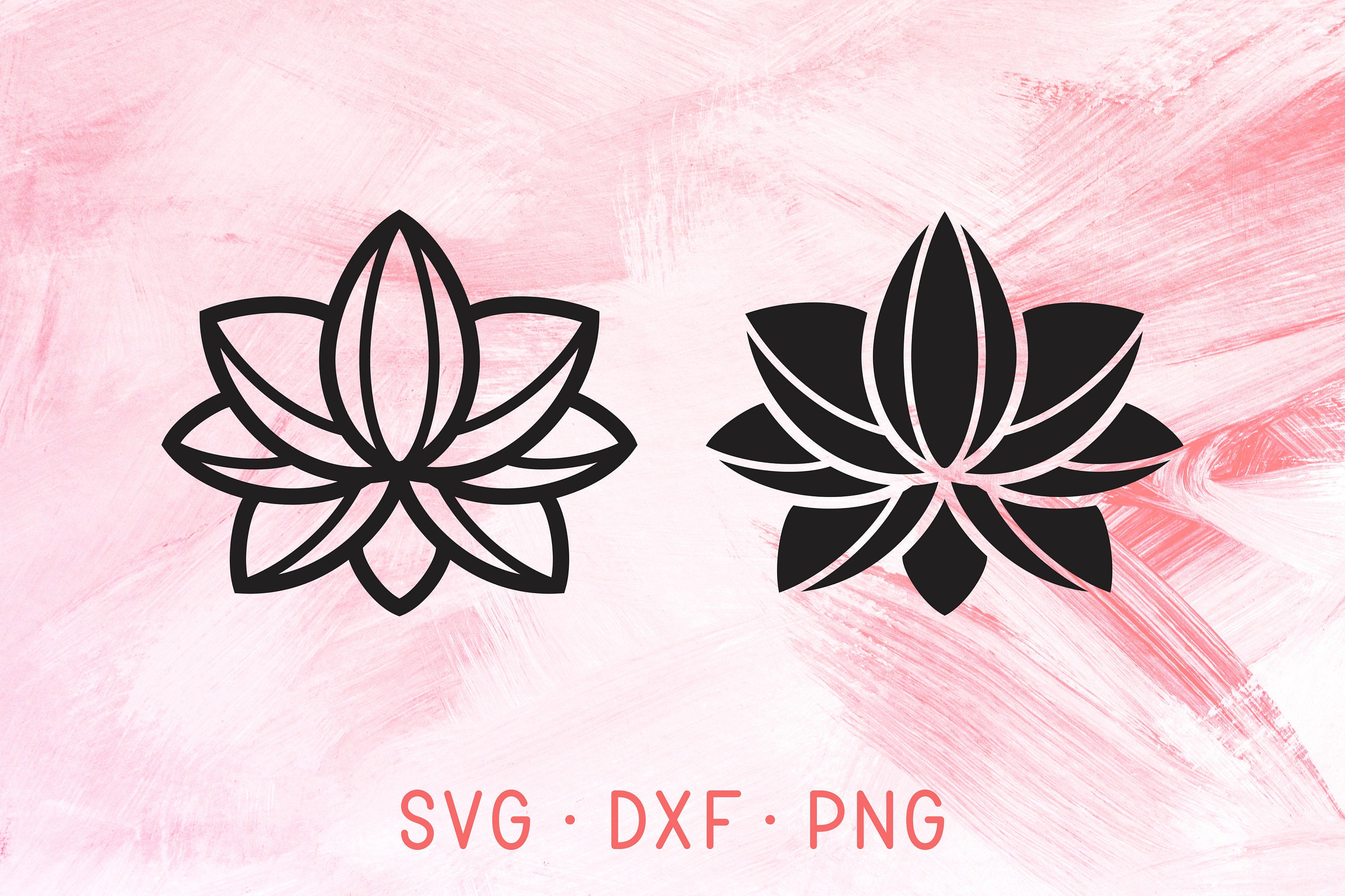 Lotus Flower Svg Dxf Png Files For Cricut Silhouette Two Etsy