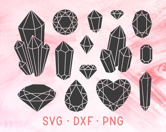 Crystal Decal, Crystal SVG, Diamonds SVG, Gem SVG File, Svg Bundle, Crystal Clipart, Raw Crystal Chakra Healing Cutting File, Quartz Svg
