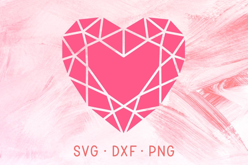 Pink Heart Diamond Svg Dxf Png Crystal Clipart File For Cricut Silhouette Red Diamond Heart Shape Diy Vinyl Decal Cute Shirt Design