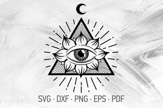 svg dxf png eps pdf Yoga Buddhist Symbol Crescent Moon Lotus Flower Tattoo Design Lotus Mandala SVG Cricut Cut Files