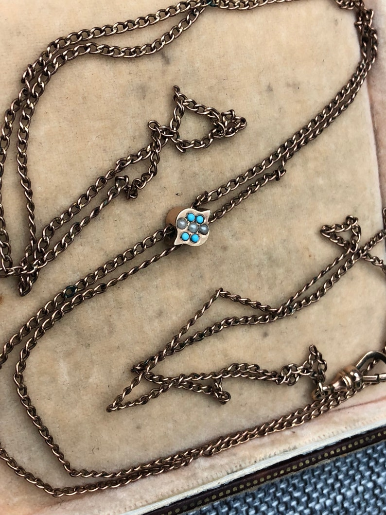 Antique Victorian Edwardian Jewellery Rolled Gold Gilt Metal Long Guard Muff Chain Necklace With Faux Pearl and Turquoise Slider Pendant