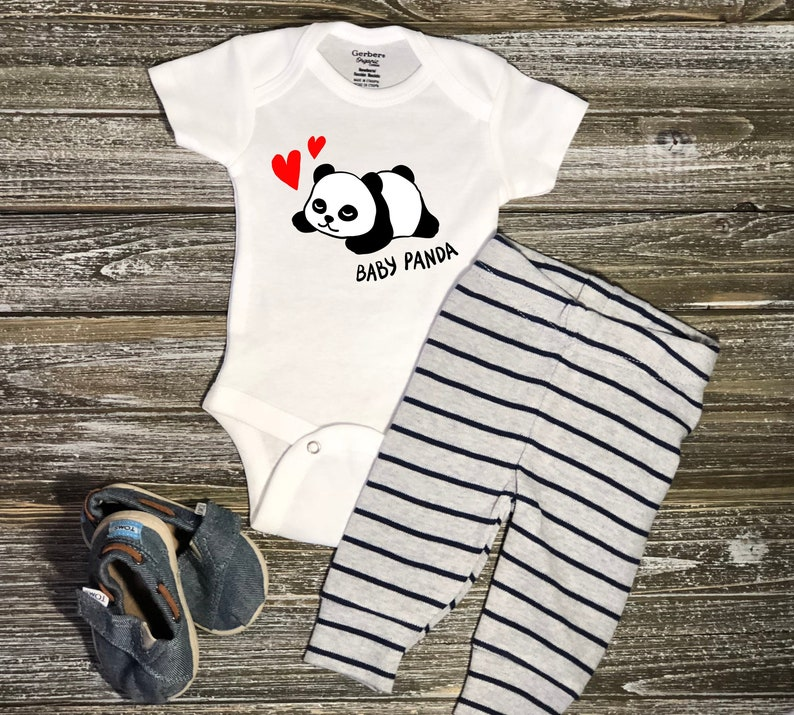 6cc546b75f4 Personalized Newborn Baby Panda Onesie Pregnancy Announcement | Etsy