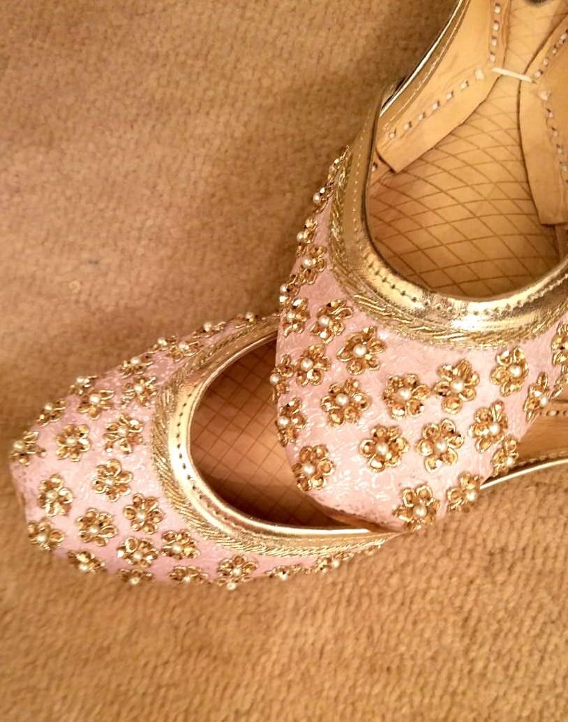 64041c9502a04 Blush Pink Indian jutti US Size 9 / 9.5 | Khussa shoes | Leather Slip Ons |  Ballet flats | Punjabi jutti | bridal flats | Womens flat shoes