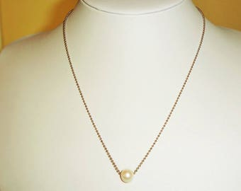 Genuine pearl chain necklace- silver plated chain - 45cm (RP13A-kam271183711)