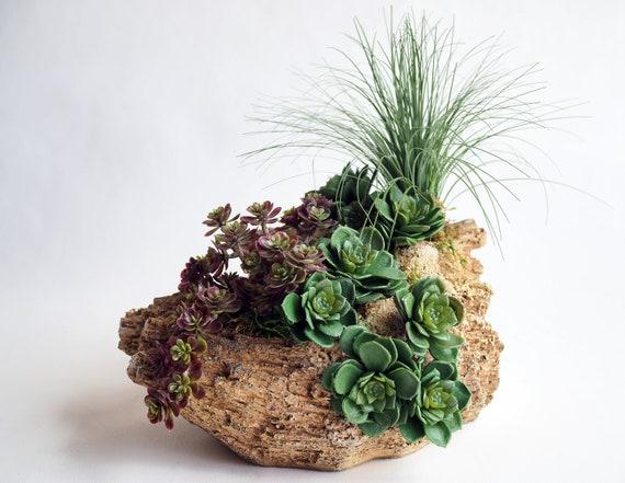 Mixed Faux Succulent Arrangement set in faux rock planter / Succulent  Centerpiece / artificial Succulent Arrangement / succulent home decor
