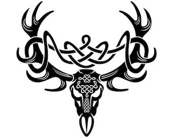 Celtic Deer Head Symbol Irish Tribal SilhouetteSVGGraphicsIllustrationVectorLogoDigitalClipart