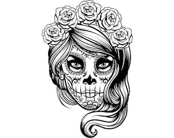 d7b65e61b4919 Day of the dead, Sugar skull, Girl, Halloween, Mexican day,  Silhouette,SVG,Graphics,Illustration,Vector,Logo,Digital,Clipart