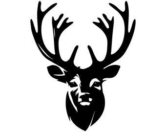 Deer Head Christmas Hunting SilhouetteSVGGraphicsIllustrationVector LogoDigitalClipart