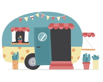 Camper Cute Cartoon Vintage Retro Hand Drawn SilhouetteSVGGraphicsIllustrationVectorLogoDigitalClipart