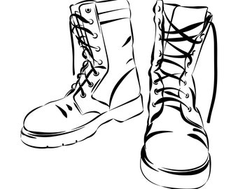 army boots etsy Marshmallow Shoes From the 1970s bat boots bat boots army military lace up boots patriotic design silhouette svg graphics illustration vector logo digital clipart
