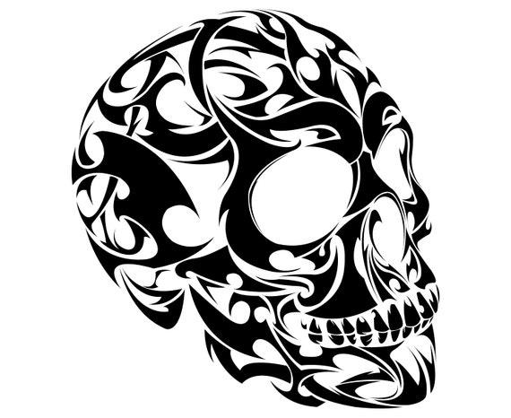 268cd71717bea Skull Tattoo Tribal | Etsy
