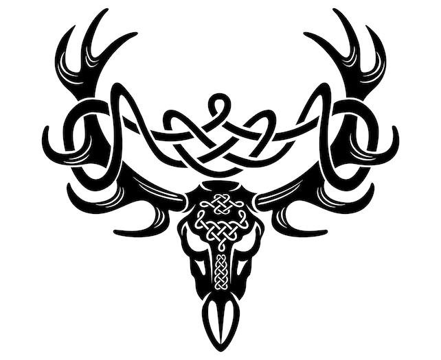 Celtic Deer Head Deer Symbol Irish Celtic Tribal Etsy