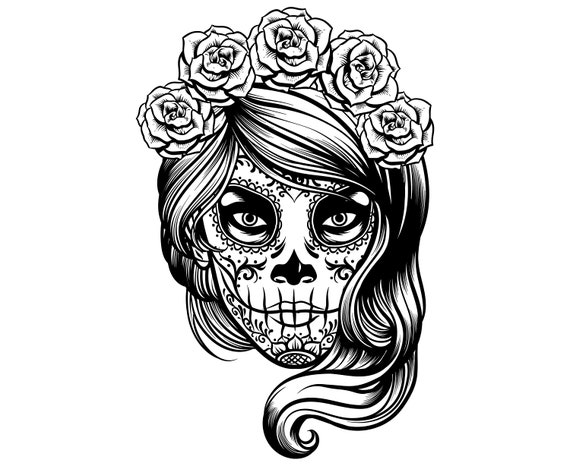 Day Of The Dead Sugar Skull Girl Halloween Mexican Day Etsy