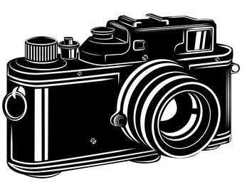 Vintage Camera SVG Clipart Silhouette Graphics