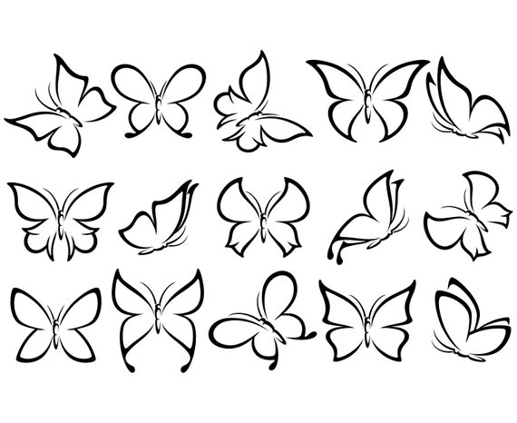 Butterfly Outline   Etsy