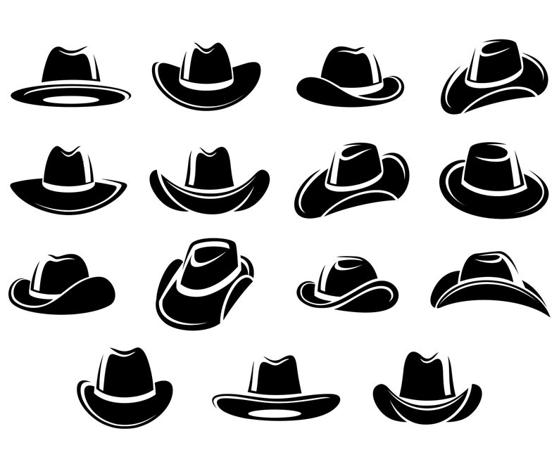ada5acfbbf7110 Cowboy hat Cow boy Silhouette SVG | Etsy