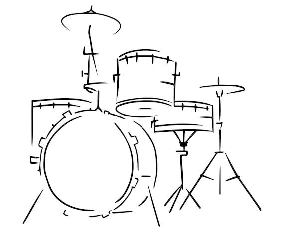 Drum Set Drummer Drum Hand Drawn Sketch Etsy