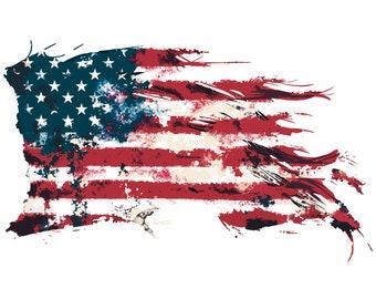 American flag, USA, American, Patriotic, US, Flag, 4th of july, Distressed, Grunge, SVG,Graphics,Illustration,Vector,Logo,Digital,Clipart