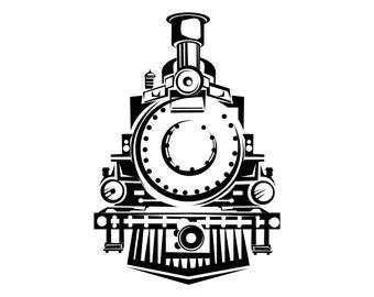 Steam train SVG, Train, Front view, Vintage train, Retro train, Locomotive, Silhouette,SVG,Graphics,Illustration,Vector,Logo,Digital,Clipart