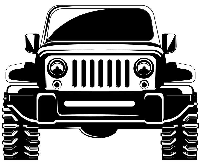 Jeep 4 X 4 Vorderansicht Wrangler Off Road Silhouette Etsy