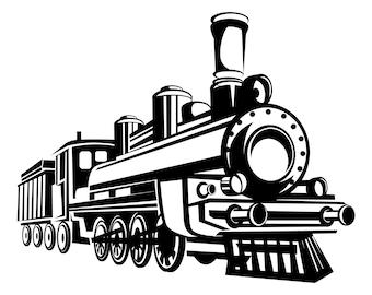 Steam train, Train, Vintage train, Retro train, Steam, Locomotive, Silhouette,SVG,Graphics,Illustration,Vector,Logo,Digital,Clipart