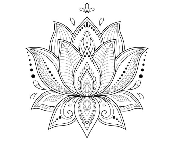 Lotus Flower Lotus Mandala Zentangle Etsy
