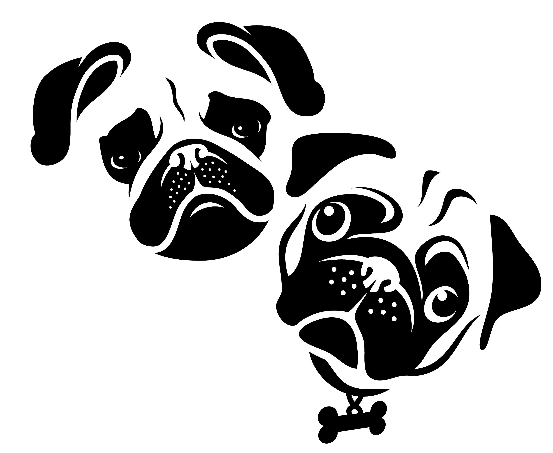 Pug SVG Pug silhouette Silhouette Pug clipart Dog SVG Pug ... (3000 x 2455 Pixel)