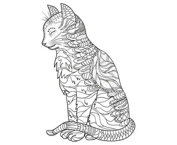 katze mandala zentangle tier tattoo silhouette svg  etsy