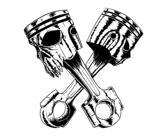Piston Skull Piston Auto Mechanic Engine Garage