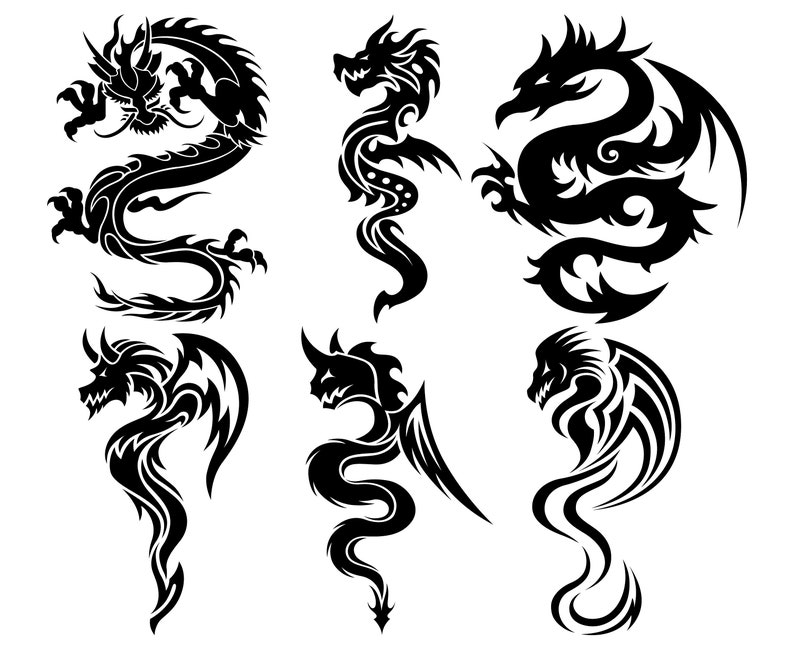 65430a6b7 Chinese dragon Fantasy Dragon Tribal Tattoo | Etsy