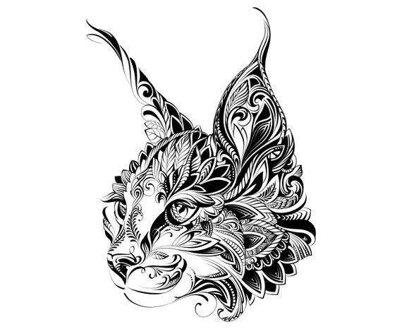 Chat Tete Mandala Zentangle Animal Tatouage Silhouette Etsy