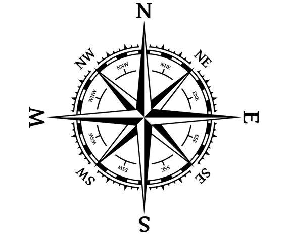 Rose Rose Van Winden Nautische Marine Kompas Silhouet Svg Etsy