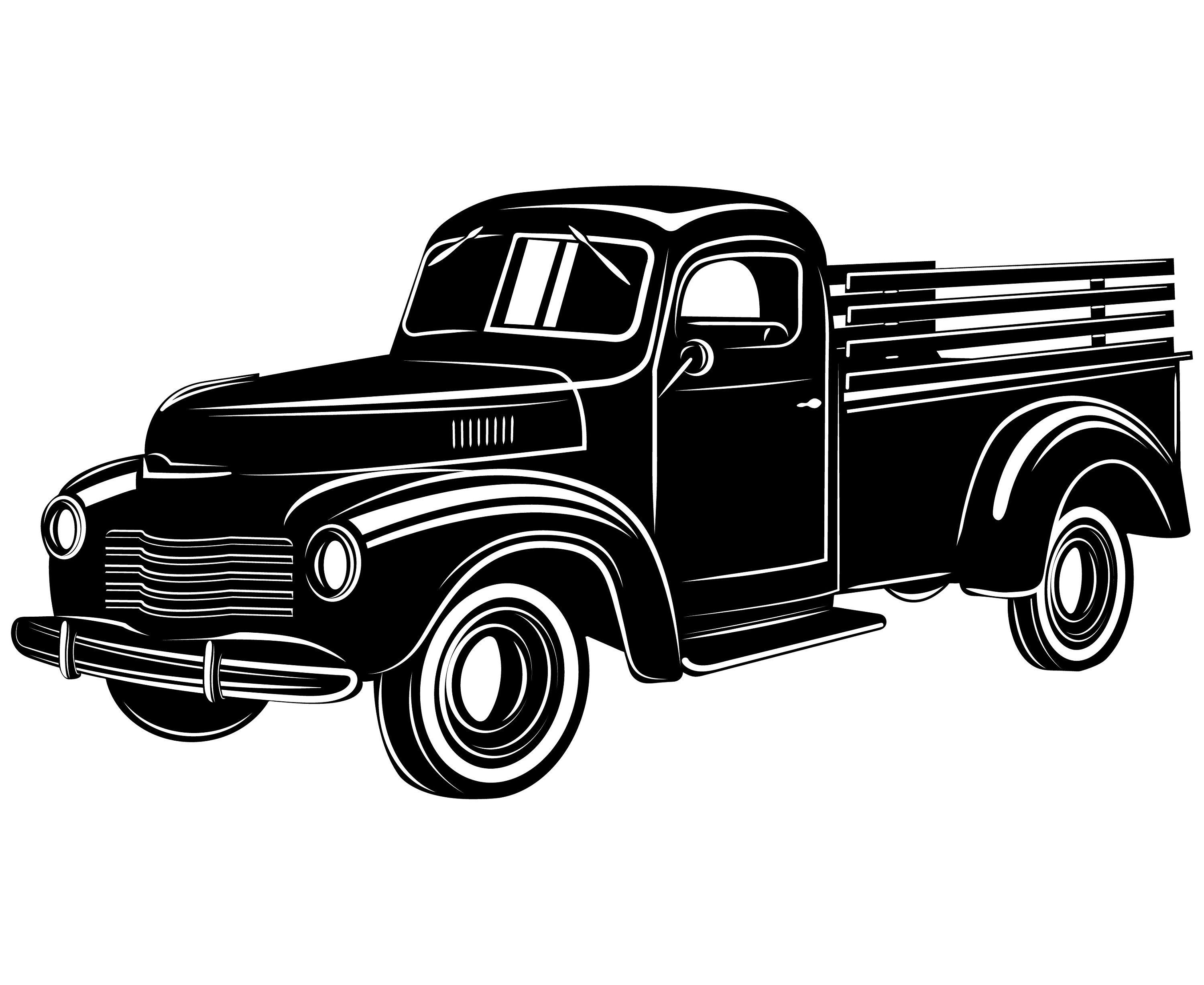 Truck Pickup Vintage Old Pick up SilhouetteSVGGraphics | Etsy