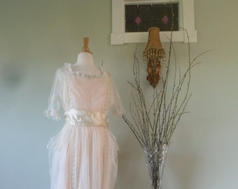 1920s Wedding Dress in Tulle with Lovely Lace Inserts and Detail  |  Side Drapes, Beading and a Sash Too!