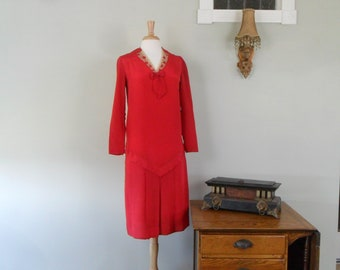 Darling 1920s Silk Drop Waist Dress in Red