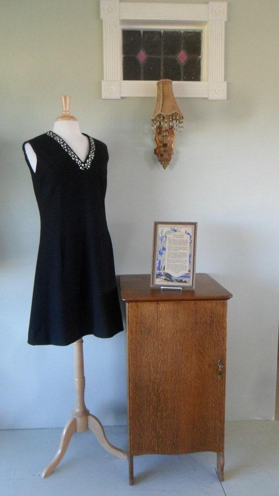 1960-Early 1970s Little Black Dress |  Rhinestone
